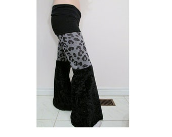 SALE Black and Leopard Dance Pants DIY Goth Punk Festival