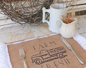 "Burlap Table Placemats  ""Farm Fresh""  Vintage Truck Farmhouse Style Country Cottage Chic Rustic Ruffle"