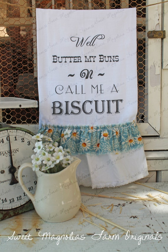 Flour Sack Kitchen Towel Farmhouse Shabby Country Style
