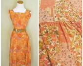 RESERVED /// 1970s Patchwork Tent Dress / Orange Cotton Sundress with Ruffle Sleeve / Size Large