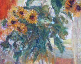 Sale! Sunflowers in Window Light - Print of Original Oil on Canvas Painting- Impressionist Painting - Contemporary Artist