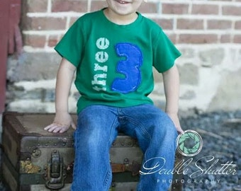Kids Birthday shirt, Layered Applique Number, (No Ink) 1st birthday, 2nd birthday, 3rd birthday, 4th birthday, 1,2,3,4,5 Free Shipping