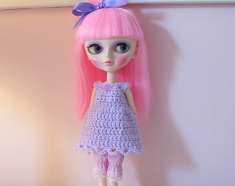Lavender Crochet Dress/Top for Tangkou,Blythe, Momoko Dolls..Hand Crocheted