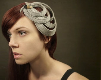 Modern Sculptural Grey Felt Fascinator - Orbital Series - Made to order
