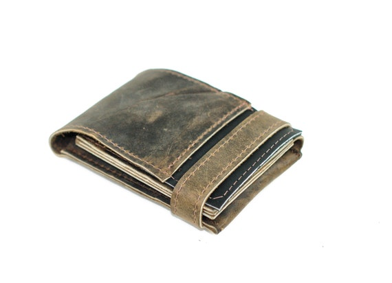 Leather iPhone Case and Card Wallet - Distressed Leather Phone Sleeve - Smartphone Pop Up Case Wallet