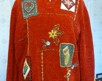CLEARANCE Vintage 80s Ugly Christmas Sweater, Alfred Dunner Henley, Embroidered Chenille, Medium