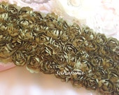 """OLIVE Green Satin Shabby 5 Rows Rosette Trim- 2.75""""x 1 yard for Boutique Dresses, Photo prop, Altered Crafts"""