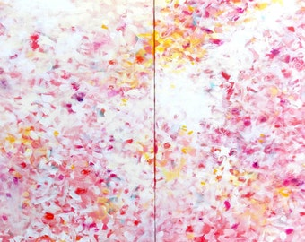 Diptych Original Abstract Painting Modern Impressionism white pink red yellow - The Pursuit of Bliss by Jessica Torrant - Free US Shipping