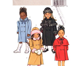 Girls Coat & Hat Pattern Butterick 4650 Double Breasted Coat Lined Long Coat Capelet Girls Sewing Pattern Size 2 3 4 5 or 6 7 8 UNCUT