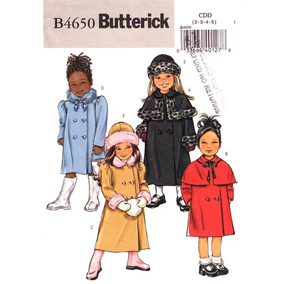 Girls Double Breasted Coat, Hat Pattern Butterick 4650 Lined Long Coat Capelet Size 2 3 4 5 or 6 7 8