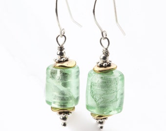 Dangling Green Glass and Brass Long Earrings On Sterling Silver Ear Wire