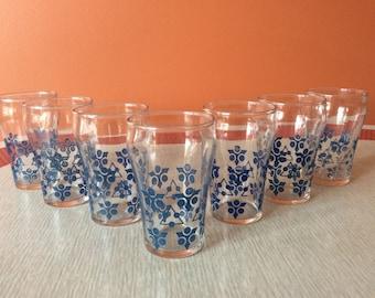 Set of seven juice glasses
