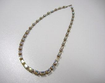 Rhinestone Necklace / vintage choker style / unmarked / elegant / Aurora borealis stones / Emerald cut  and Round / Prom / wedding / Formal