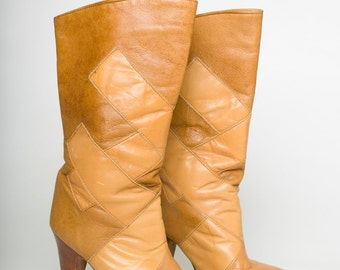Vintage 80's ZODIAC USA Cognac Brown Leather Spike Stiletto Heel Midi Boots (sz 6.5 M)
