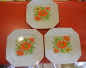 1960s poppy dishes set of 3 square plates