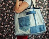 One of a kind- Large Denim Tote Bag