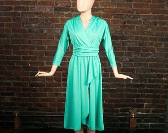 Vintage 70s Draped Grecian Goddess 1970s Sea Foam Green Deep V Cocktail Party Dress (S -M)