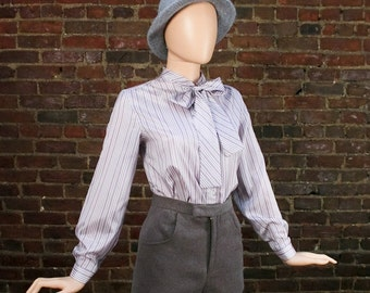 Vintage Kitten Bow Blouse Bowtie Ascot Top Lavander Striped Secretary Shirt  (M)