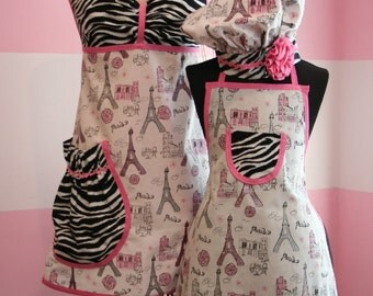 Mother/Daughter Matching Aprons - White Paris