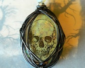 Anatomical Skull Necklace Wire Wrapped Pendant
