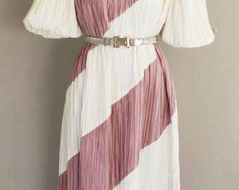 Vintage 1980s Day Dress with Diagonal Stripe of Cream and Mauve - 1980s Day Dress - Prago Fashions Ltd - 36 Bust