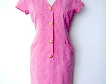 French 1980s vintage pink jeans dress with gold studs and buttons - large L