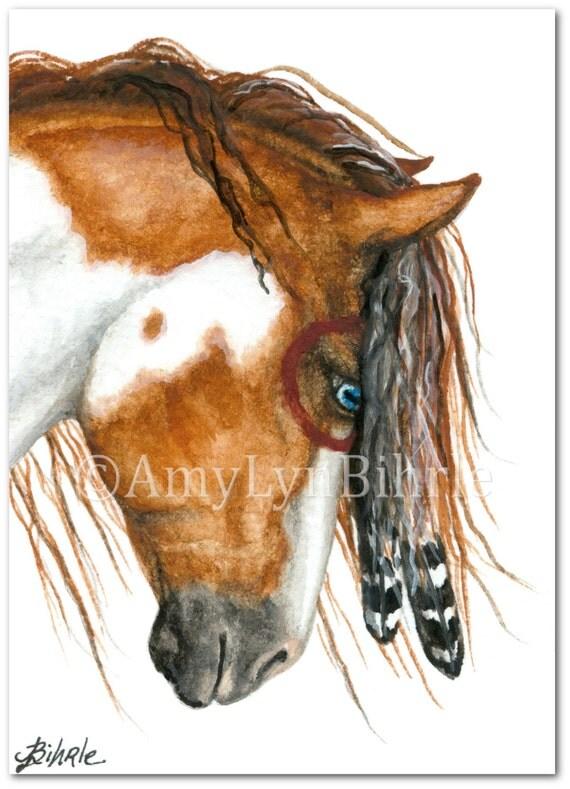 Majestic Horses Pinto War Paint Native Feathers Art