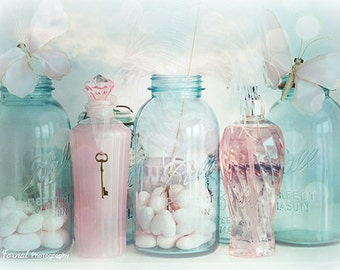 Shabby Chic Decor Pink Bottle Art Pink Shabby Chic Bottles - Pink and blue bathroom accessories