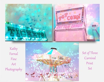 Carnival Prints, Baby Girl Nursery, Kid's Room Decor, Aqua Pink Carnival Photos, Ferris Wheel Art, Popcorn Cotton Candy Stand, Ticket Booth