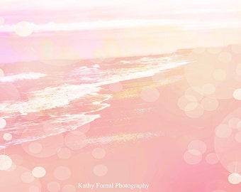 Pink Ocean Photography, Baby Girl Nursery Decor, Girl's Room Decor, beach ocean coastal print, baby girl nursery room, beach ocean wall art