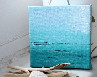 Nautical Mini Painting , Fine Art for the Beach Inspired Room , Surreal Seascape