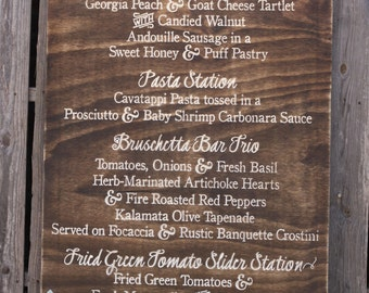 """Wedding Menu with Painted Flourish Engraved Wood Sign 30"""" x 48""""  (W-043a)"""