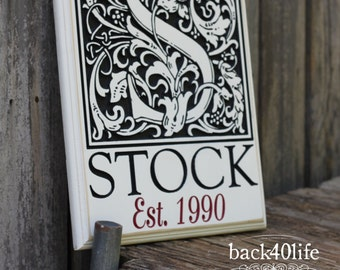 The Shaw - Old English Block Monogram Engraved Wood Sign (S-002)