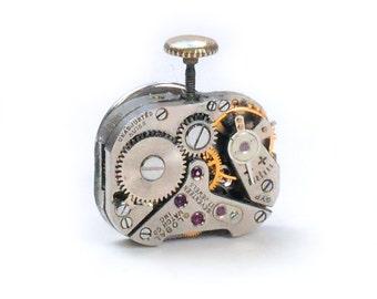 Steampunk Vintage Watch Movement Tie Tack Lapel Pin