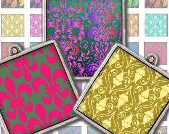 Fleur De Lis Fall Patterns 1 Inch Digital Collage Sheet - patera jewelry pendant scrabble soldered glass tags - U print 300 dpi jpg