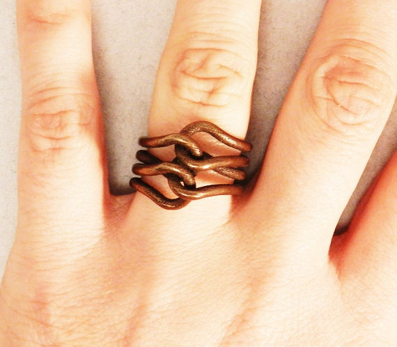 Knit Ring (3D printed Steel, Bronze or Gold)