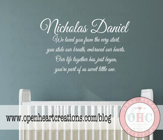 Baby Nursery Wall Decal Quote Baby Poem with Personalized