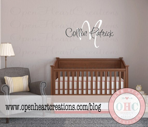 Monogram Vinyl Wall Decal - Initial with Name Wall Decal for Girl Boy Baby Nursery Teen Decor IN0022