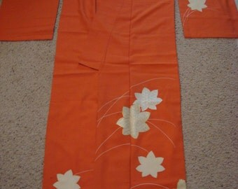 SALE Lovely Vintage Japanese Kimono Fall Leaves AS-IS