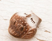 Little Brown Owl bead - Sleepy Woodland Critters hand painted forest animal bead (ready to ship)