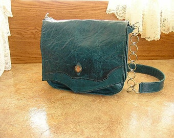 "Large Teal pull-up leather purse with a 22"" drop chainmail-leather strap and a glass tapestry button,   10"" x 8"" x 2 1/2"""