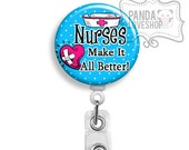 SALE -- Nurse Badge Holder, Nurse Badge Reel, Retractable ID Holder, Nurse Gifts