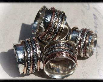 Meditation Spinner Ring with Sterling, Bronze, Brass & Copper