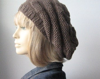 Taupe Heather Hand Knit Hat, Beehive Beret, Vegan Hat, Taupe Knit Beret, Fall Fashion, Womens Accessories, Womens Hat