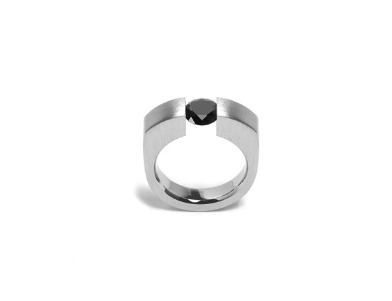 Black Diamond Ring Stainless Steel Tension Set Mounting