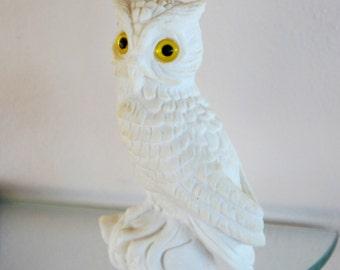 Vintage Owl Figurine Statue White Alabaster Yellow Eyes