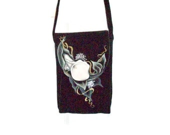Hand Painted Black Suede Leather Purse   Cross Body or Shoulder Purse