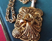 Vintage Brass Shell Spoon Pendant Necklace Unique Ornate Metal STampings