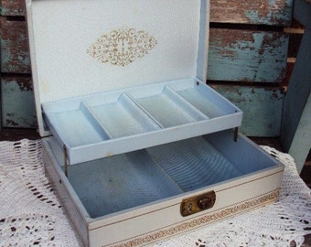 Vintage Leather Jewelry Box Display Aniline Leather Shabby Chic Pale Baby Blue