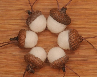 White Felted Wool Acorns or Acorn Ornaments